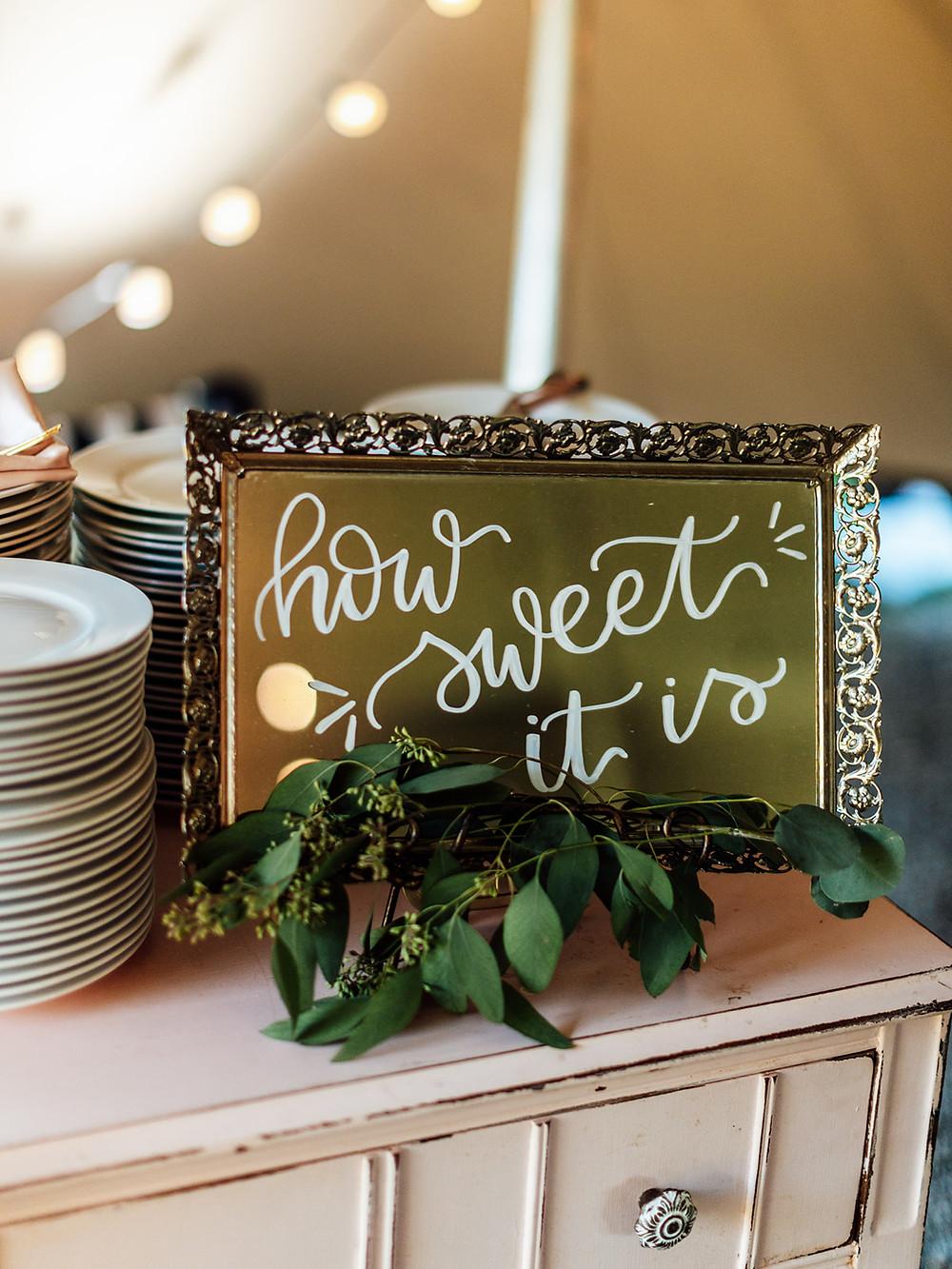 Wedding cake table sign: Vintage Glam Barn Wedding at The Treman Center