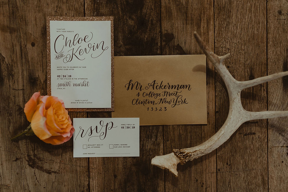 Wedding Invitation Suite: Industrial & Copper Styled Wedding Shoot at Smith's Market featured on Pretty Little Vintage Co.
