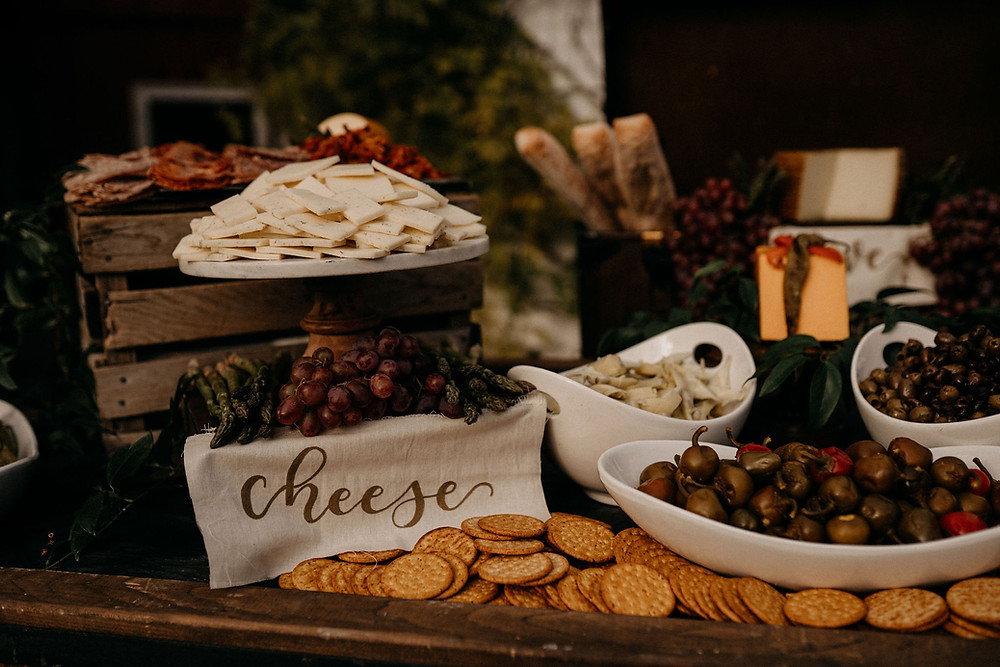 Charcuterie Wedding Display: Warm & Rustic Styled Shoot at Hayloft in the Arch captured by Tracy Jade Photography featured on Pretty Little Vintage Co.