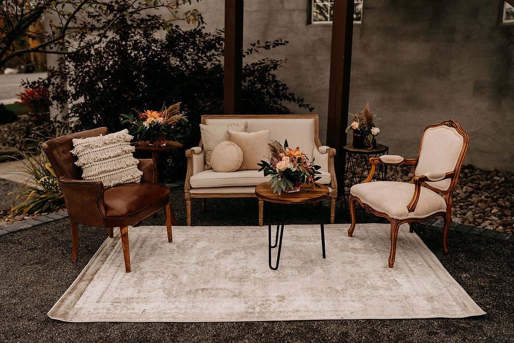 Outdoor Lounge Setting: Warm & Rustic Styled Shoot at Hayloft in the Arch captured by Tracy Jade Photography featured on Pretty Little Vintage Co.