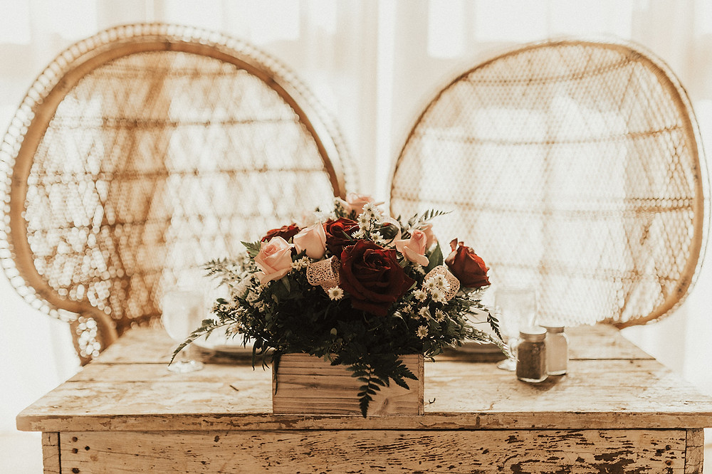 Wedding Sweetheart Table Design: Charming Bohemian Gilbertsville Farmhouse Wedding captured by Rachel Liz Photography featured on Pretty Little Vintage Co