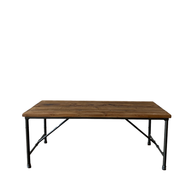 Wood & Pipe Rectangle Table