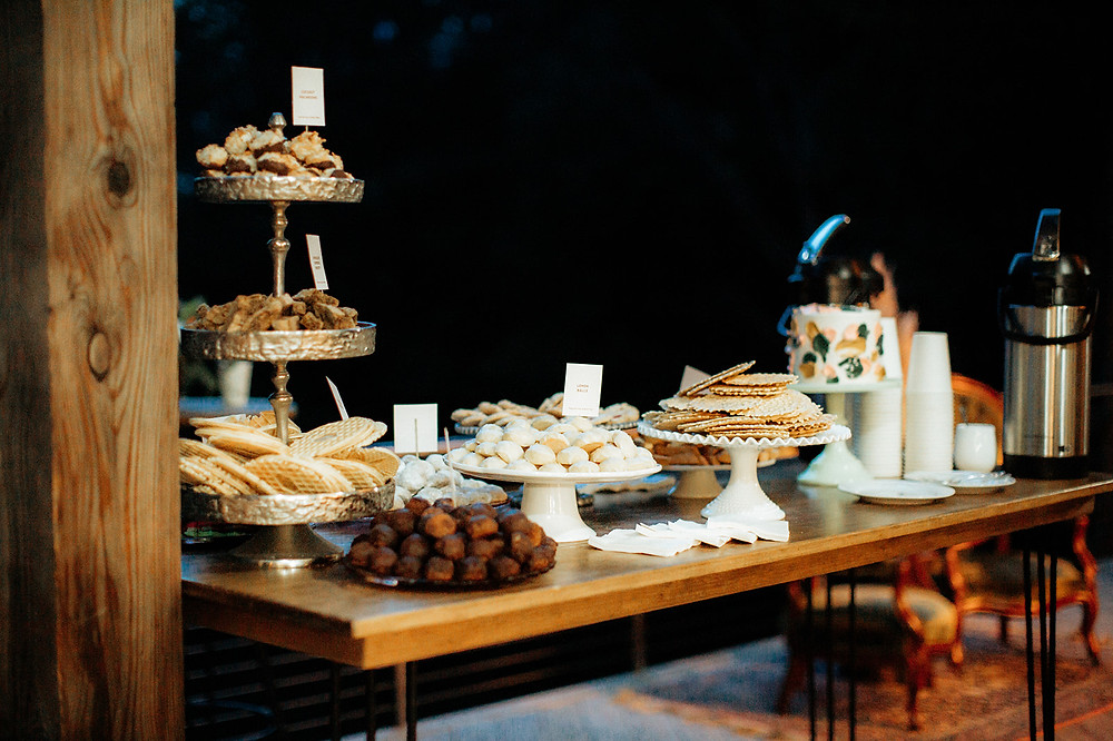 Wedding Dessert Table: Warm Toned Backyard Wedding on Skaneateles Lake in Spafford, NY featured on Pretty Little Vintage Co.