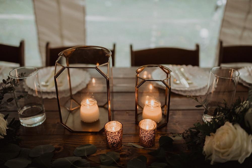 Wedding sweetheart table decor