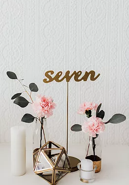 Laser Cut Table Numbers on Stand