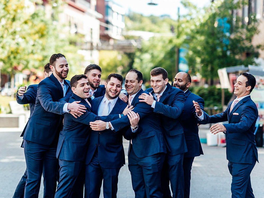 Navy blue groom and groomsmen attire: Vintage Glam Barn Wedding at The Treman Center