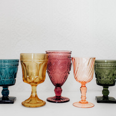 Mismatched Colored Glassware