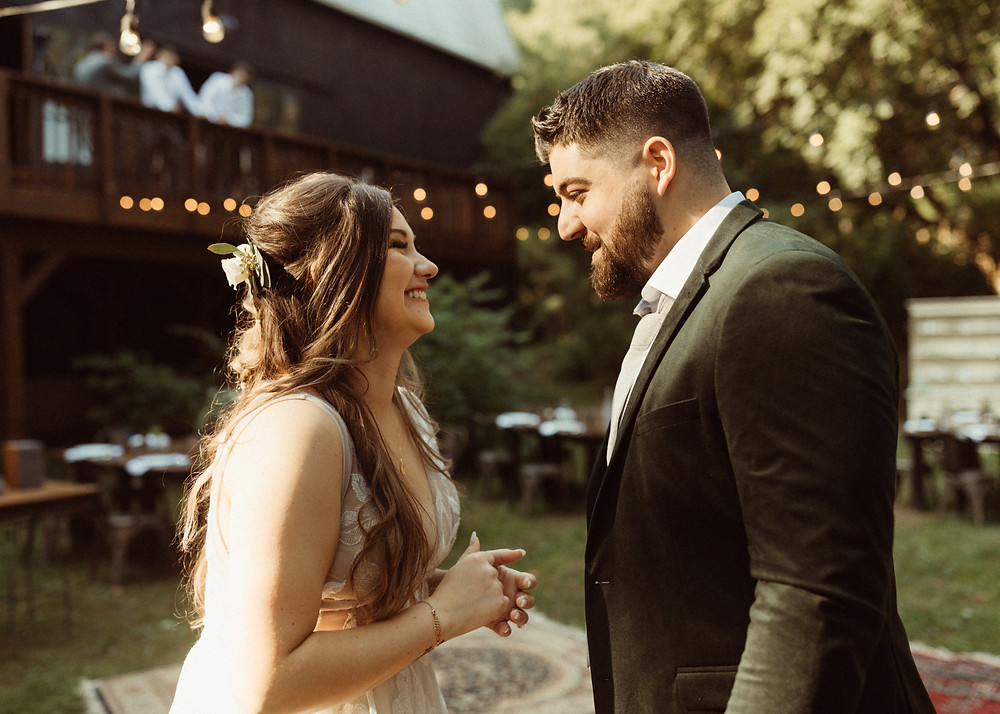 By Bridget Photography wedding first look | Outdoor wedding at The Kester Homeland | Pretty Little Vintage Co.