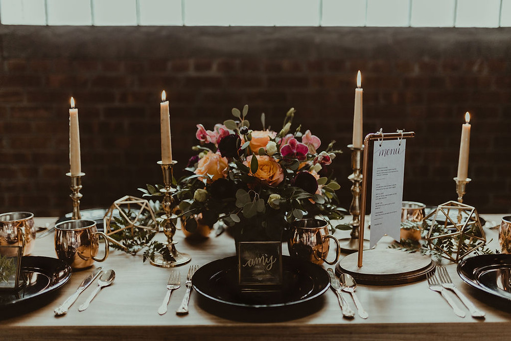 Industrial Wedding Tablescape: Industrial & Copper Styled Wedding Shoot at Smith's Market featured on Pretty Little Vintage Co.