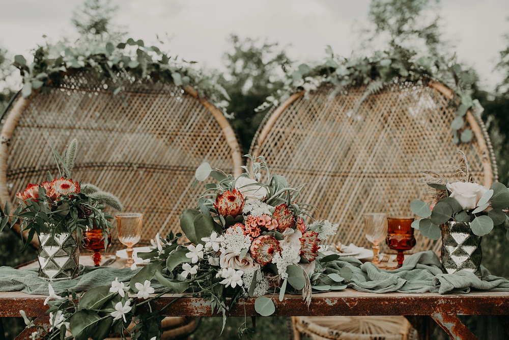 Boho wedding sweetheart table: Boho TerraCotta Wedding Styled Shoot at Red Barn 20