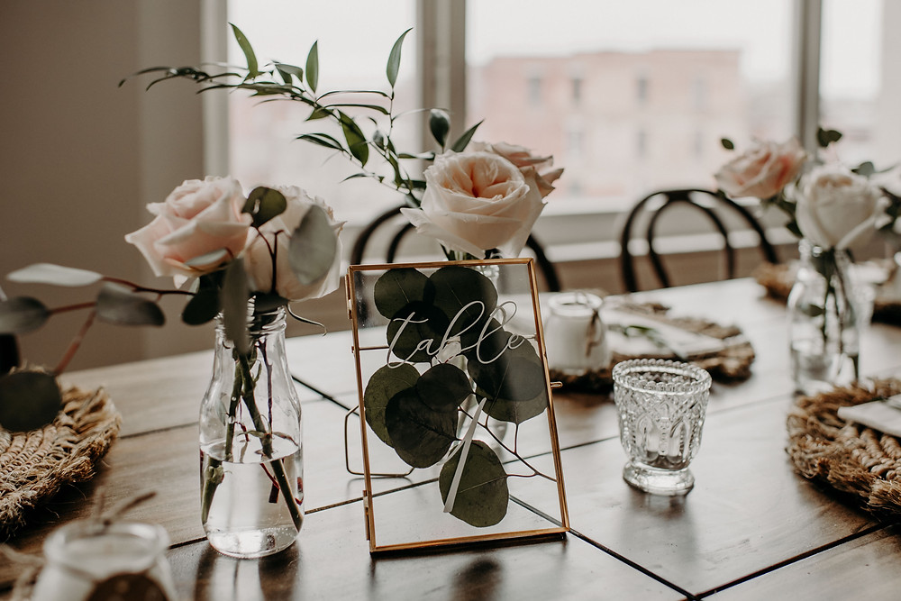 Gold framed eucalyptus wedding table number decor: Earthy & Modern Bridal Shower Inspiration by Pretty Little Vintage Co. featured on The Lincoln Loft & Studio blog