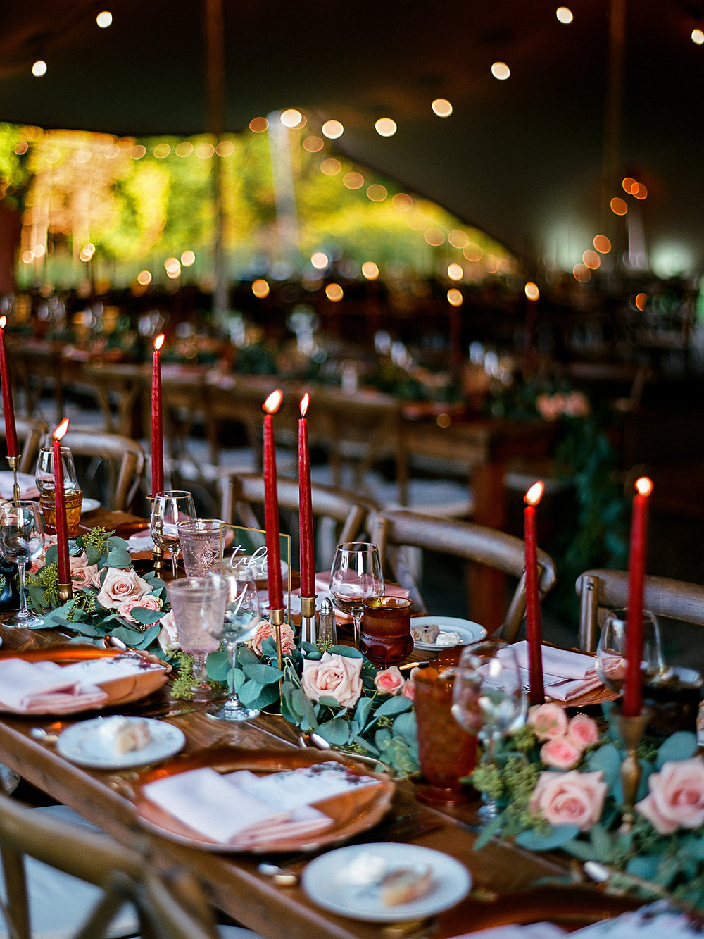 Pink and red wedding table decor: Vintage Glam Barn Wedding at The Treman Center