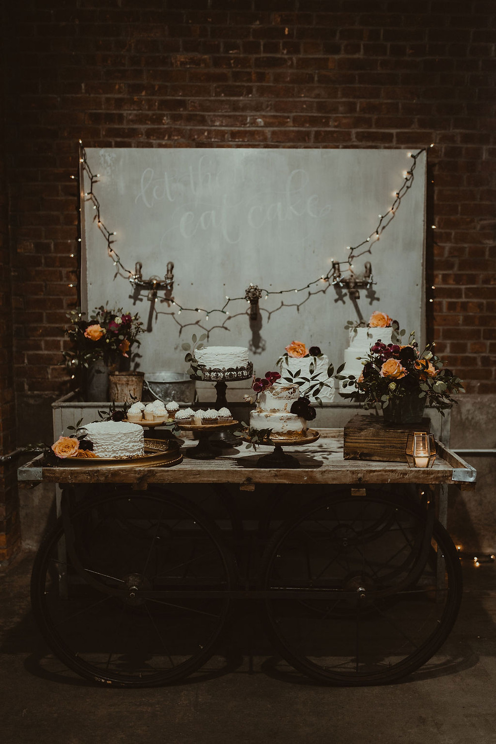 Industrial Wedding Cake Display: Industrial & Copper Styled Wedding Shoot at Smith's Market featured on Pretty Little Vintage Co.