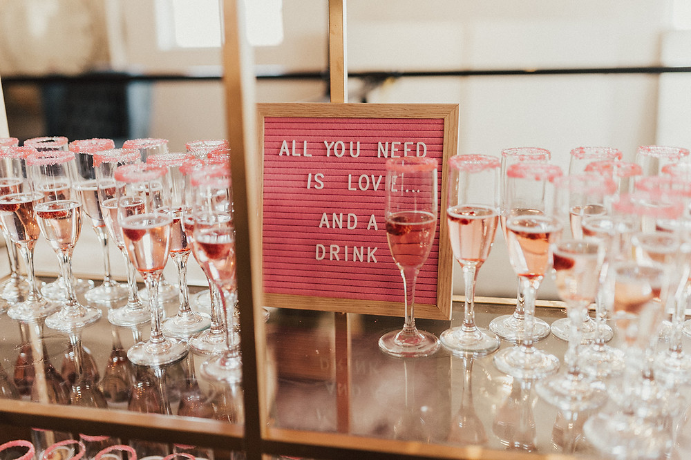Wedding Champagne Display: Charming Bohemian Gilbertsville Farmhouse Wedding captured by Rachel Liz Photography featured on Pretty Little Vintage Co