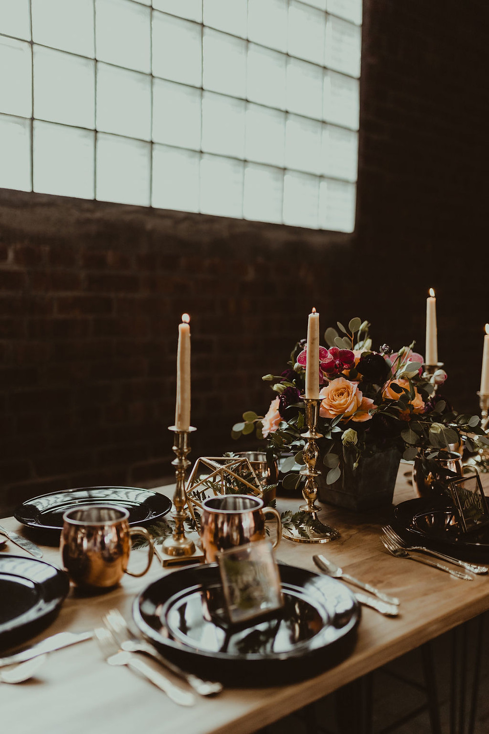 Brass Candle Sticks Decor: Industrial & Copper Styled Wedding Shoot at Smith's Market featured on Pretty Little Vintage Co.
