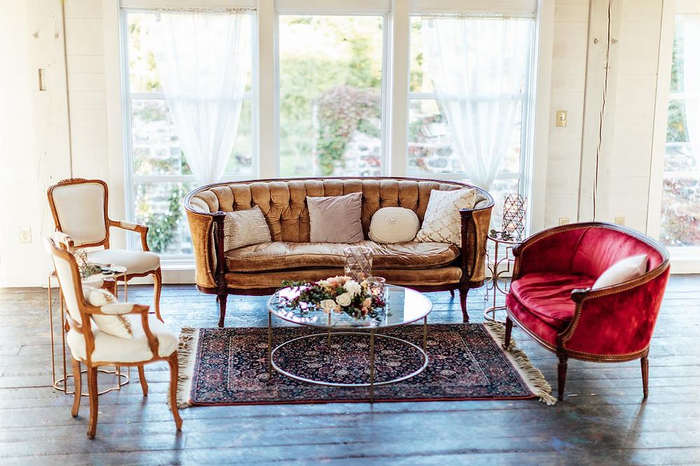 Antique wedding lounge: Vintage Glam Barn Wedding at The Treman Center