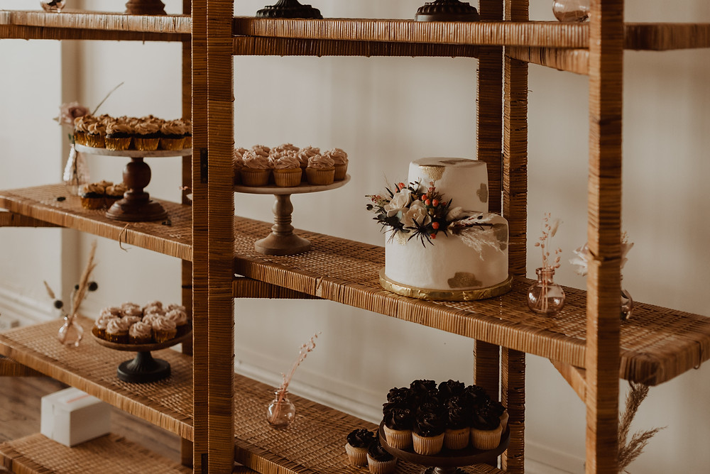 Bohemian wedding cake display
