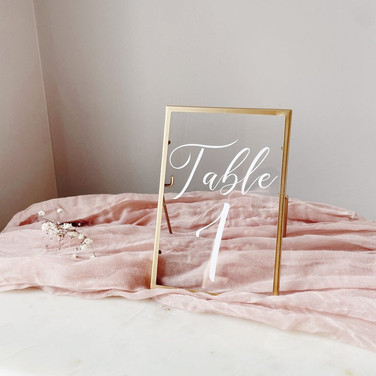 Gold & Glass Frame Table Numbers