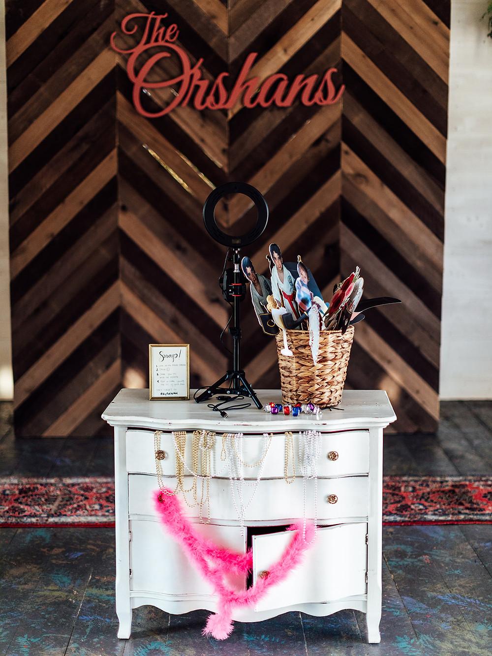 Wood photo shoot backdrop: Vintage Glam Barn Wedding at The Treman Center