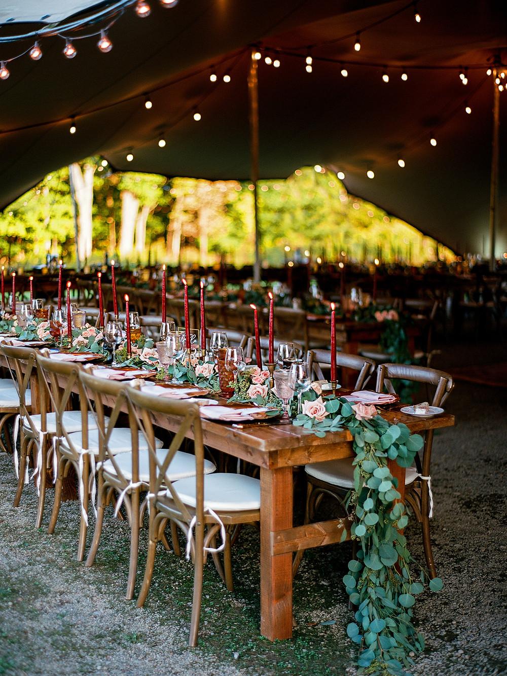 Farm wedding table: Vintage Glam Barn Wedding at The Treman Center