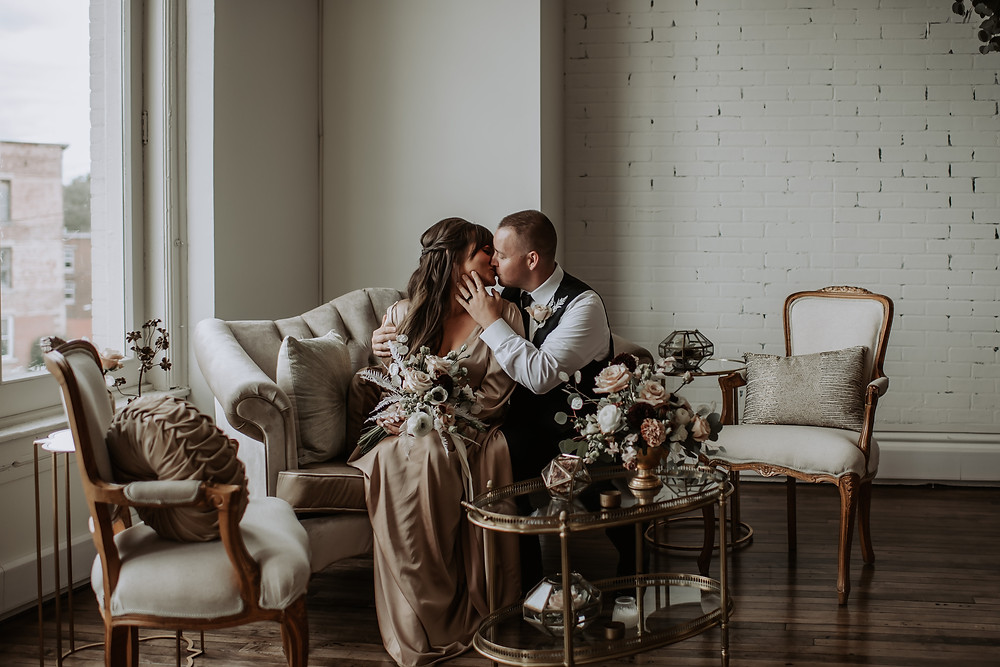 Neutral colored wedding lounge