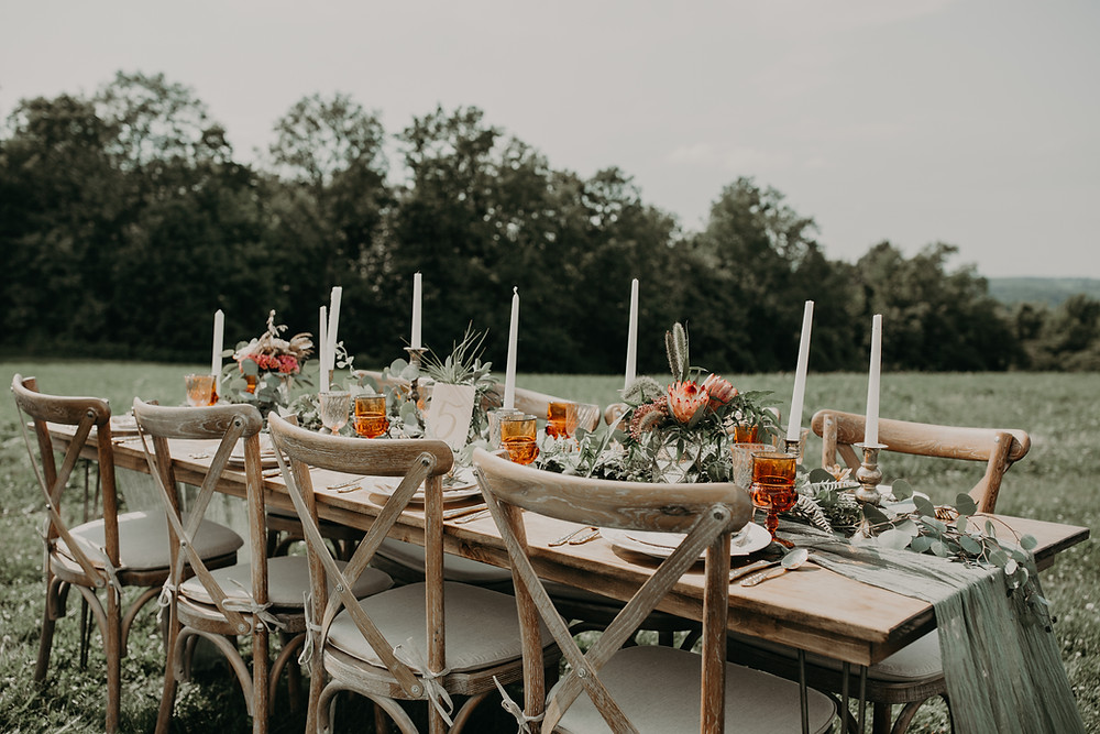 Outdoor wedding reception decor: Boho TerraCotta Wedding Styled Shoot at Red Barn 20