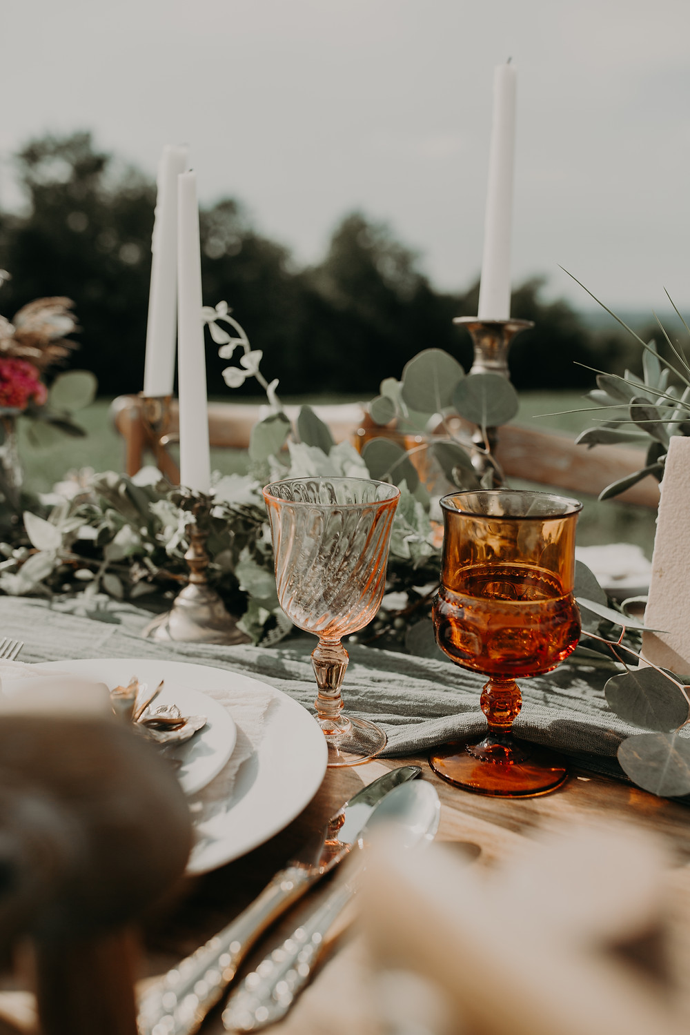 Mismatched wedding goblets: Boho TerraCotta Wedding Styled Shoot at Red Barn 20