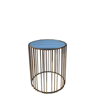 Striped Gold Mirrored End Table