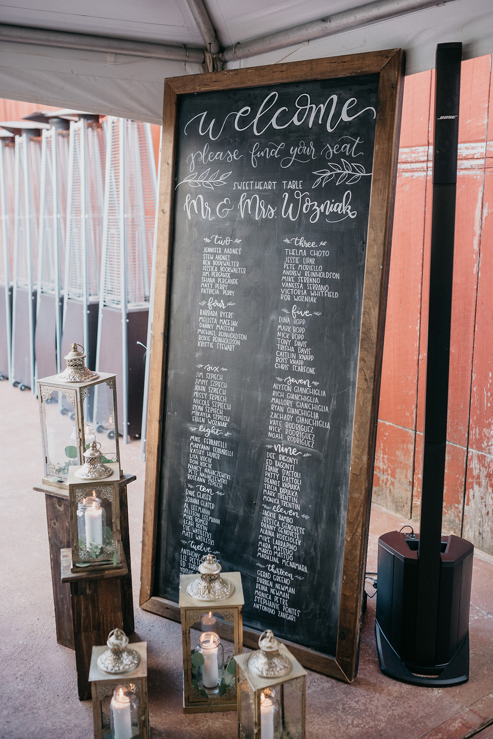 Chalkboard Wedding Sign: Vintage Glam Gilbertsville Farmhouse Wedding featured on Pretty Little Vintage Co.