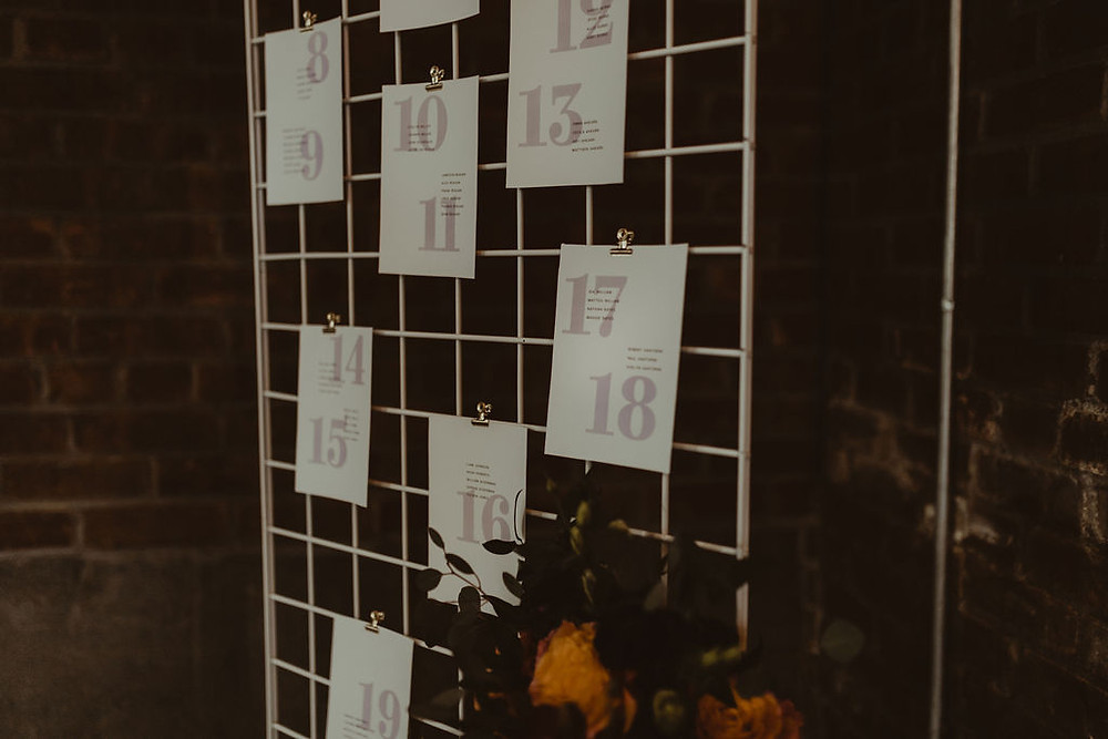 Modern Wedding Escort Card: Industrial & Copper Styled Wedding Shoot at Smith's Market featured on Pretty Little Vintage Co.
