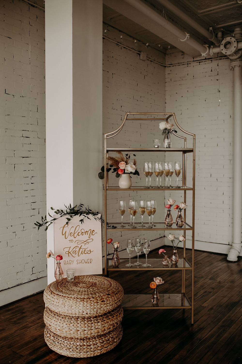 Bubbly bar baby shower display: Citrus Colored Baby Shower Inspiration with Pretty Little Vintage Co.
