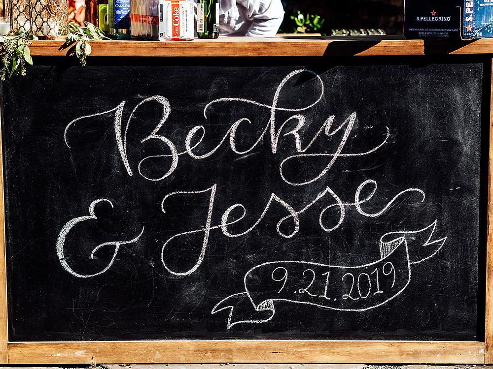 Chalkboard wedding bar: Vintage Glam Barn Wedding at The Treman Center