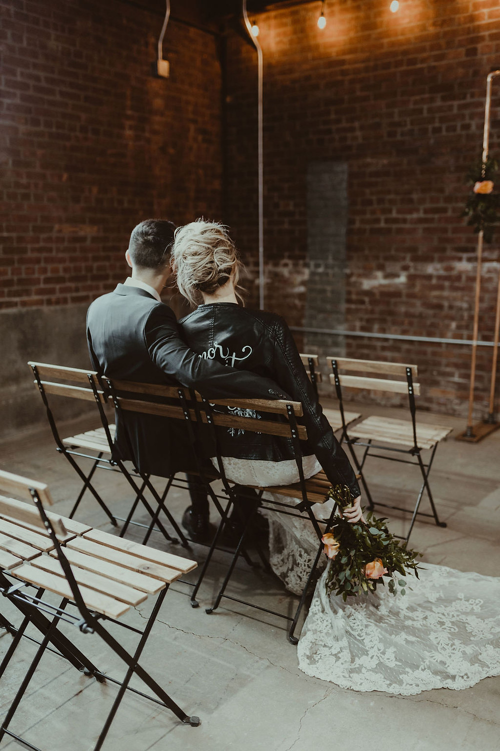 Bistro Chair Wedding Ceremony Decor: Industrial & Copper Styled Wedding Shoot at Smith's Market featured on Pretty Little Vintage Co.