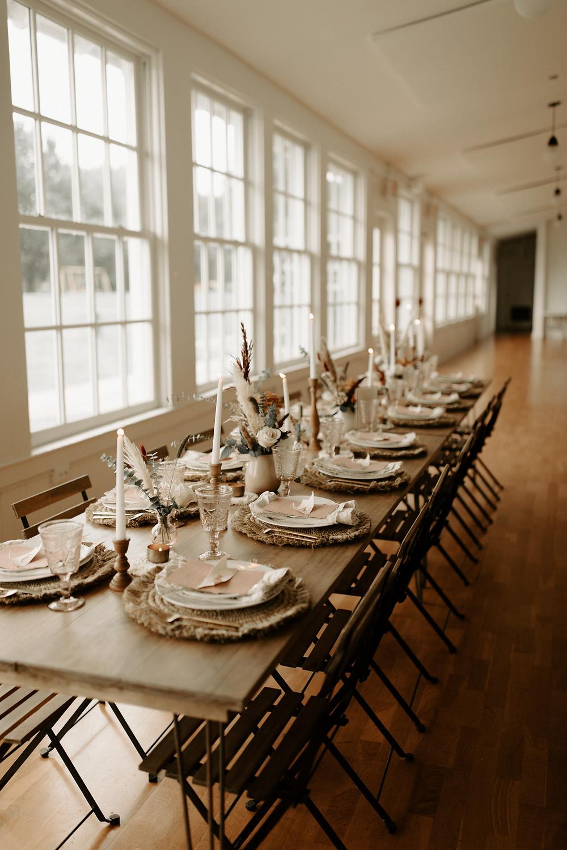 Family style hairpin farm wedding table