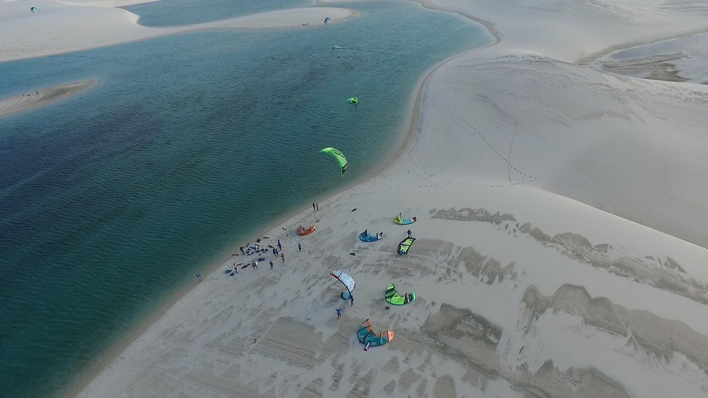 a group of kitesurfers