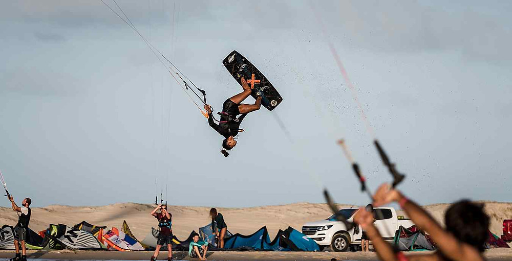 Estefania Rosa making a big jump with her kite