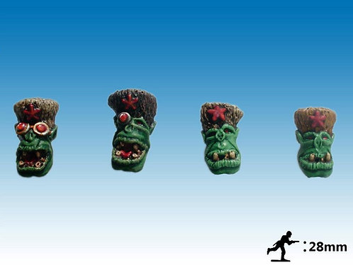 28mm Ork Blood Axe heads with Russian bear skin hats