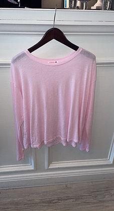 Boxy Long Sleeve Tee-Pink
