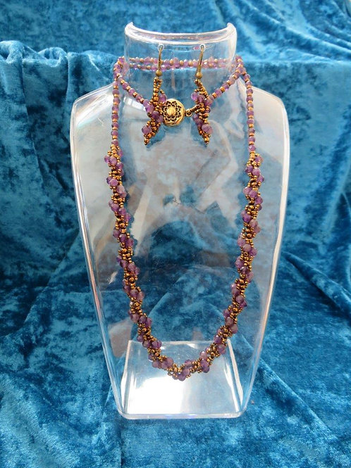 Natalia Necklace with matched earrings in Amethyst and Glass