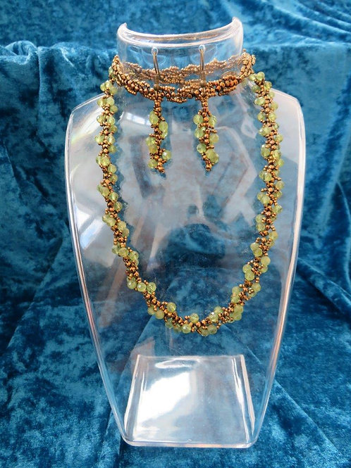Natalia Necklace with matched earrings in Peridot and glass