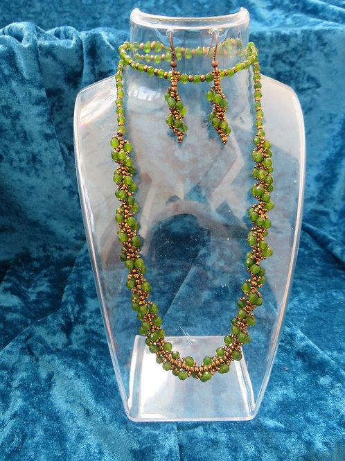 Natalia Necklace with matched earrings in Jade and Glass