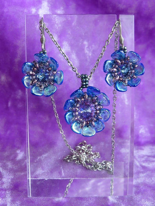 Frosty Blue colored Wild Rose Pendant with Earrings
