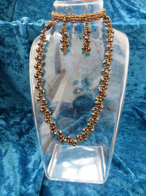 Natalia Necklace with matched earrings in Hematite and glass