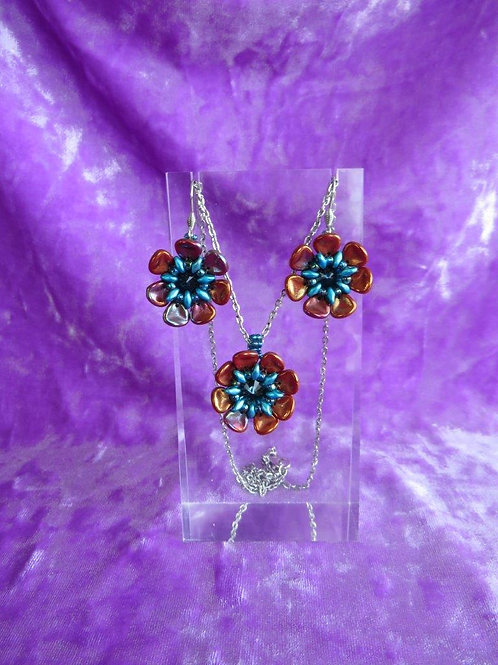 Persian Red colored Wild Rose Pendant and Earrings