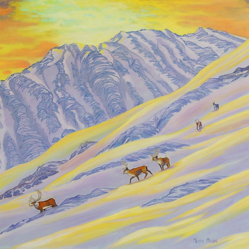 """The Mountaineers (Caribou), 32""""x30"""""""