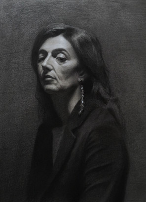 Caterina, charcoal and white chalk on hand toned Arches paper