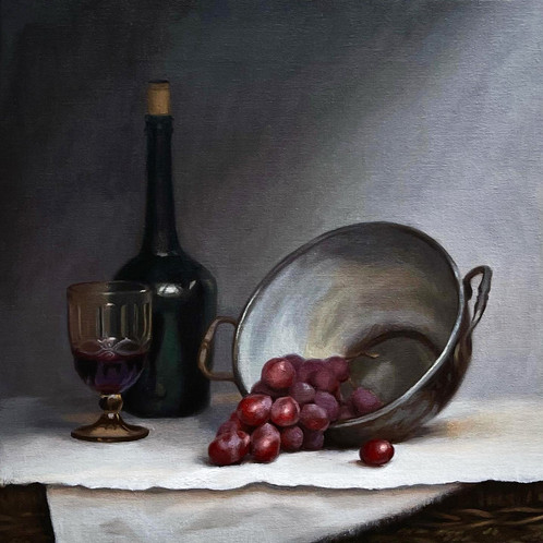 Still Life With Grapes, oil on canvas