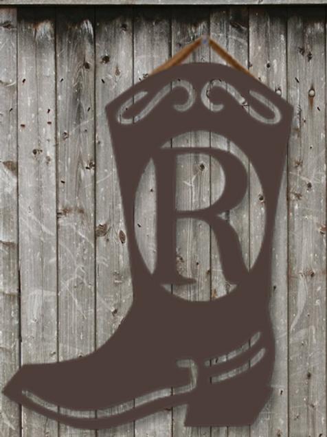 "Cowboy Boot Monogram 22"""