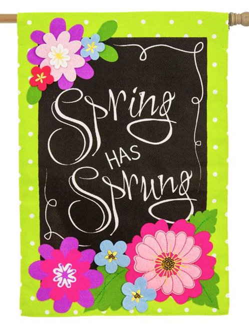 """Spring Has Sprung"" Burlap Flag"