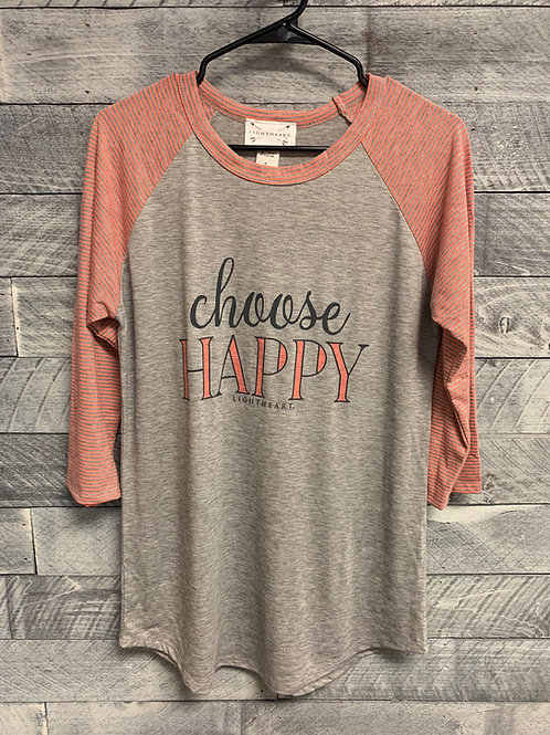 Choose Happy 3/4 Sleeve T-Shirt